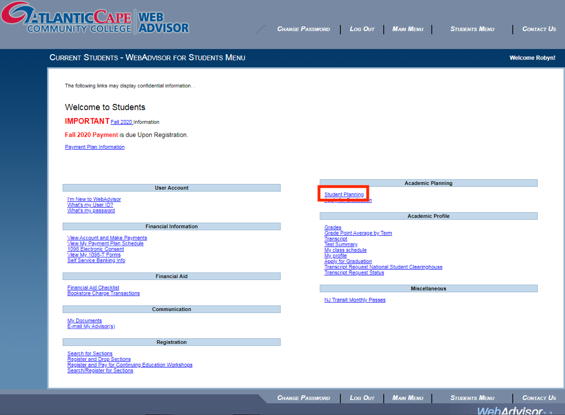 Current Students - WebAdvisor for Students Menu: Search/Register for Sections option highlighted