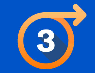 the number 3 in a circle with an arrow