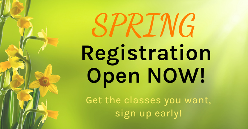 picture of spring flowers. Text says spring registration open now